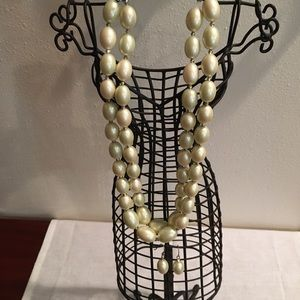 🌷Double-strand Oval Pearl Bead Necklace Set